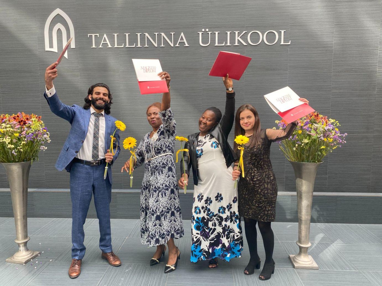 students celebrating graduation estonia